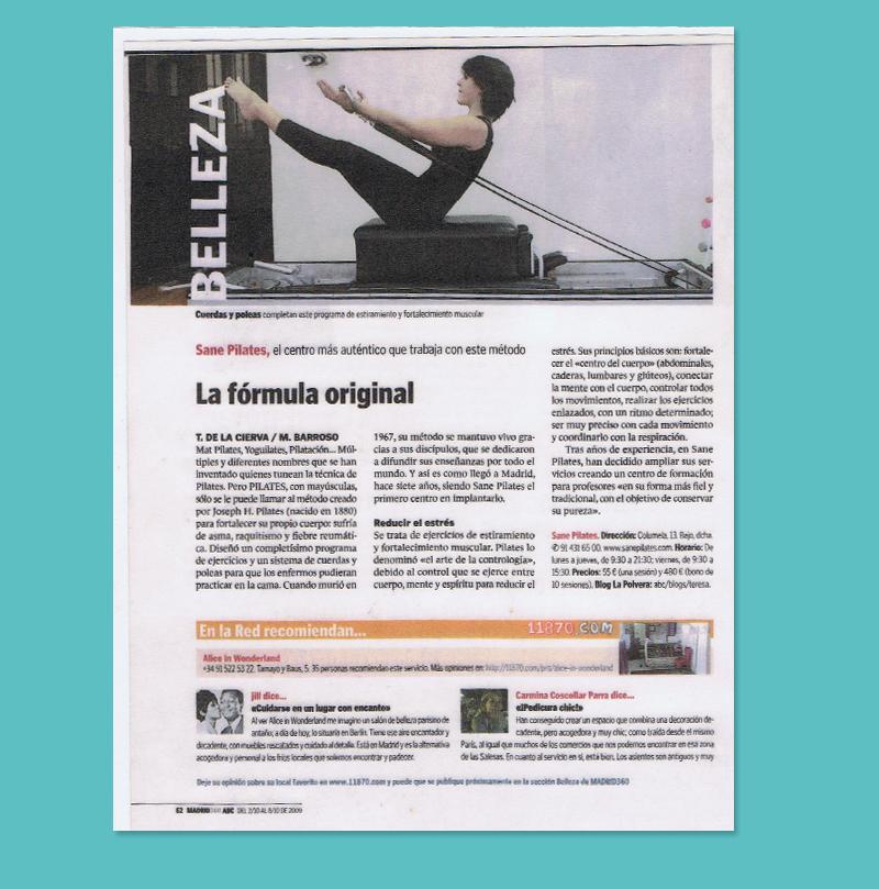 Artículo en el diario ABC sobre Sane Pilates